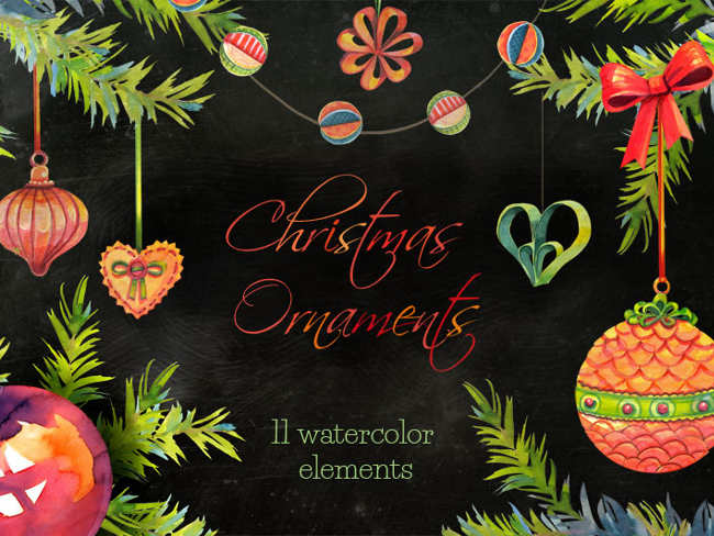 christmas-water-color-ornaments-designs
