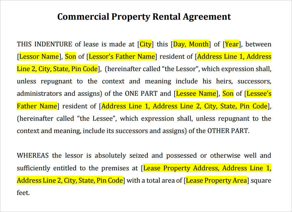 Doc564746 Commercial Tenancy Agreement Template Commercial – Commercial Rental Agreement Template Free