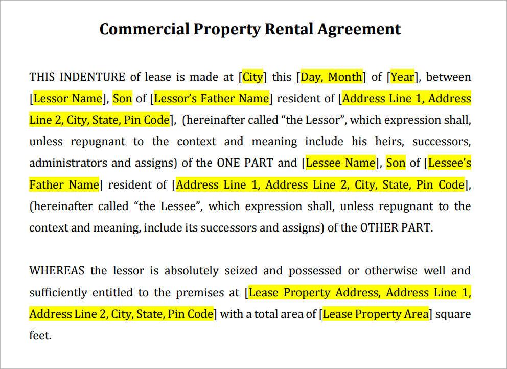 Rental Agreement Form Sample Example Creativetemplate – Define Rental Agreement