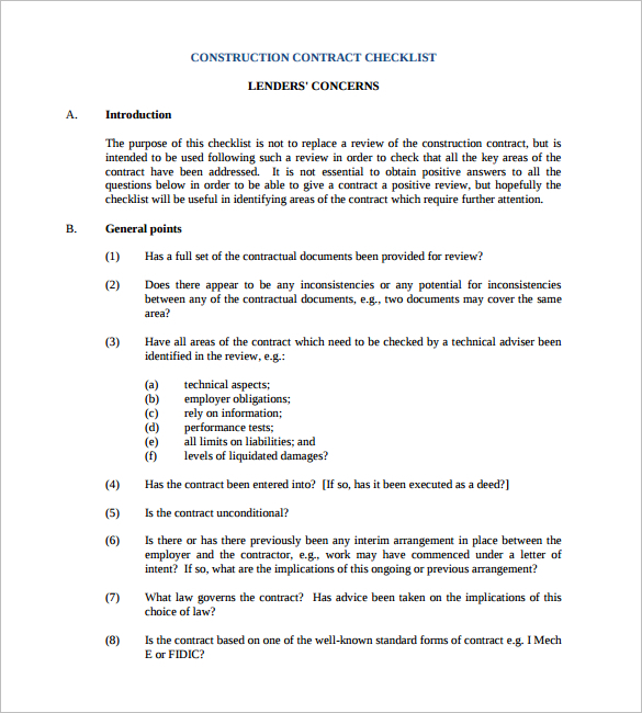 construction-contract-checklist-template-form