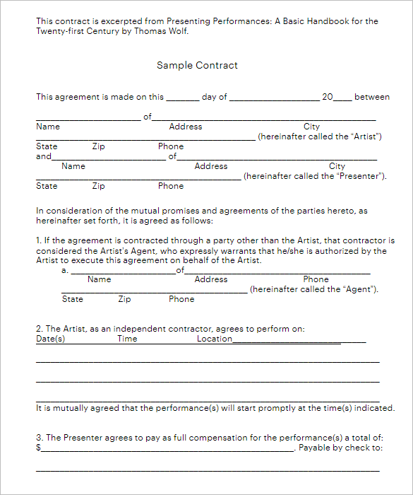 Construction Contract Form PDF
