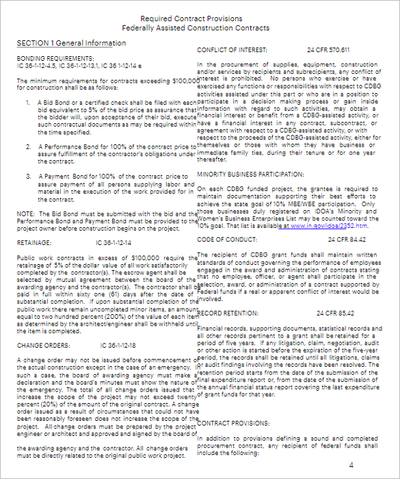 Construction Service Contract Form Template