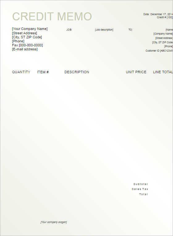 credit-memo-template-format