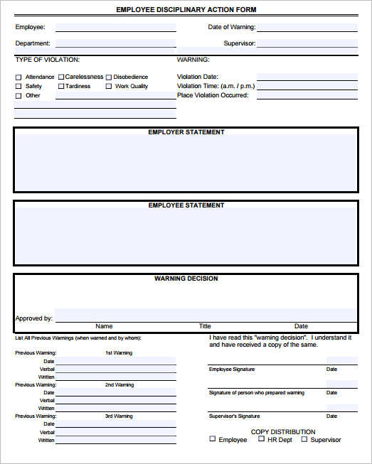Employee Write Up Form Templates  Free Word Pdf Doc Documents