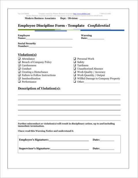 Employee Write Up Form Templates Free Word PDF Documents – Disciplinary Action Form