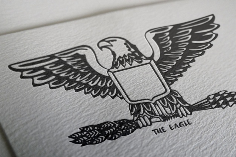 Eagle Logo Mockup Free PSD