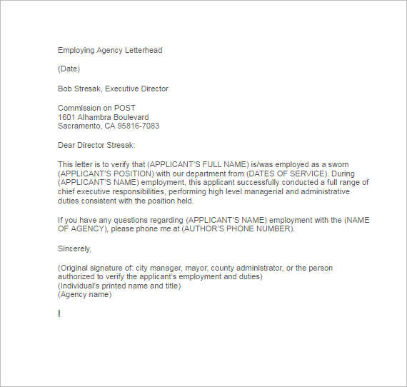 Letter Format Employment Verification Letter Format