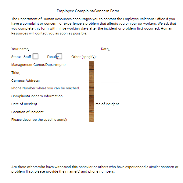 Employee Complaint Write Up Form Template