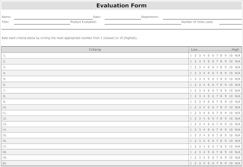 31 Employee Evaluation Form Templates Free Word Excel Examples