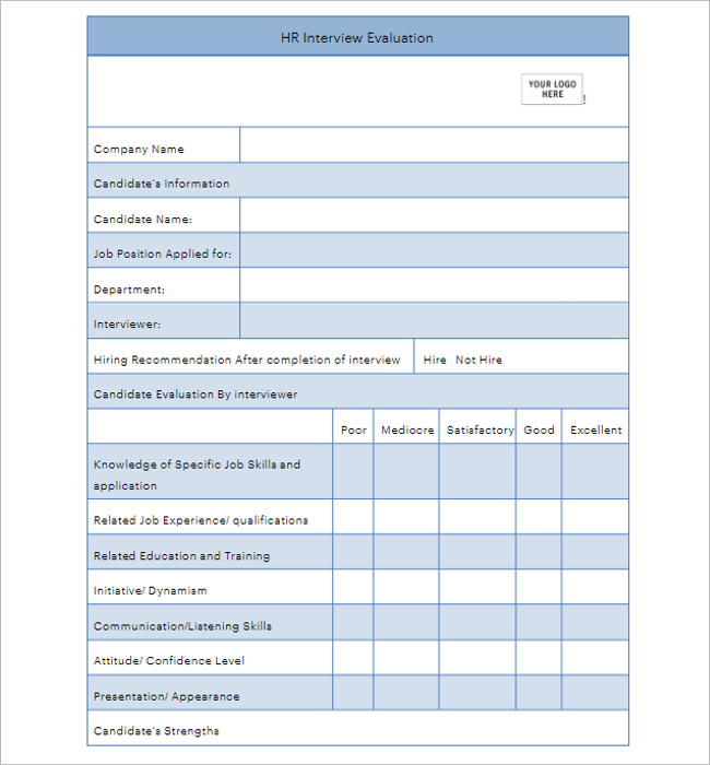 Employee Evaluation Form Free Download
