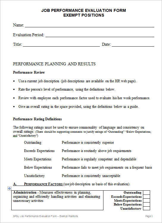 Employee Evaluation Form Templates  Free Word Excel Documents