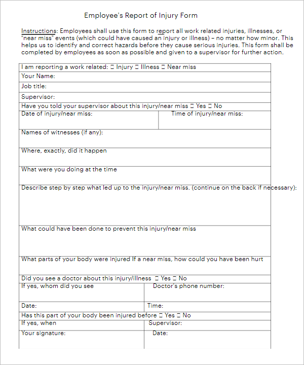 Employee Injury Report Form Write Up Template