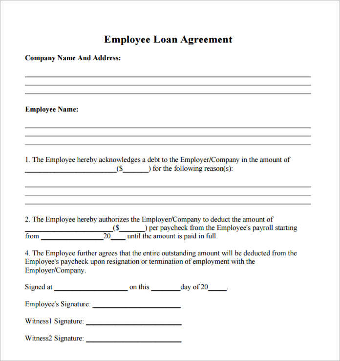 Sample Loan Contract Templates Sample Loan Agreement Doc Loan – Loan Forms Template