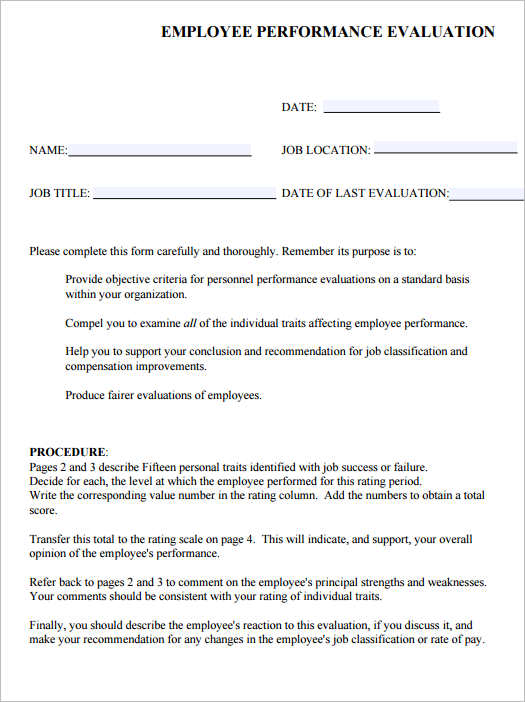 Employee Evaluation Form Templates - Free Word, Excel Documents ...