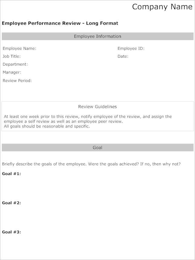 Employee Performance Review Template Word ...