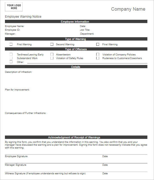 Employee Write Up Form Templates - Free Word, Pdf Documents