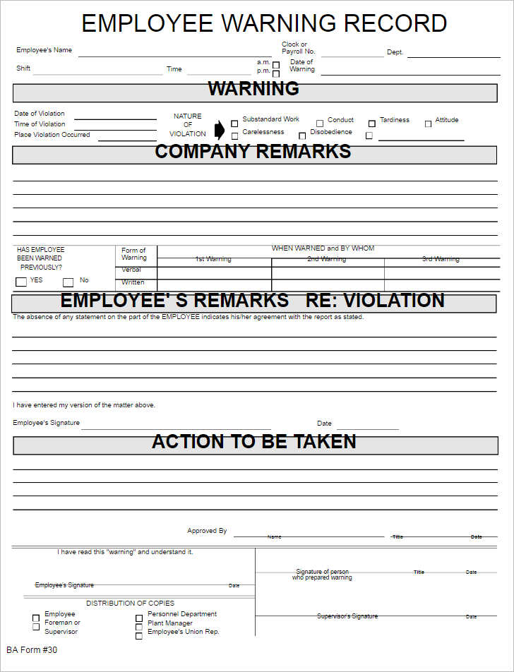 employee warning record form template employee warning record form template word button employee job satisfaction write up