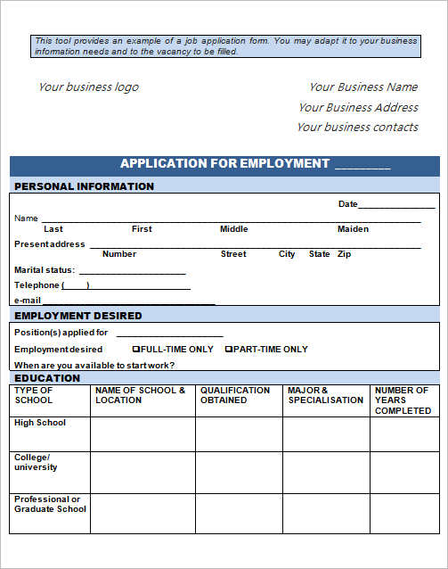 Employment Application Form Template - Free Word, Pdf, Excel