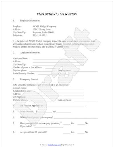 Employment Application Pdf Template