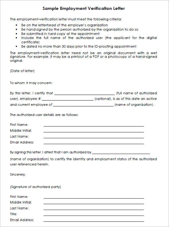 Employment Verification Letter Templates