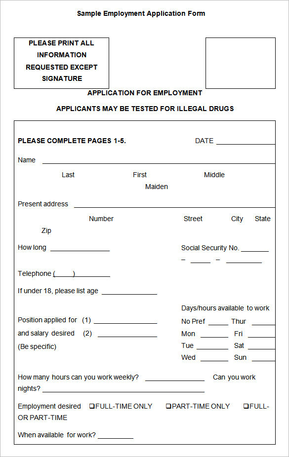 employment-sample-application-template