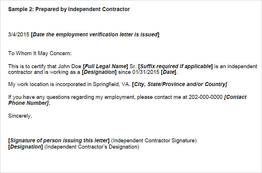 employment verification letter for independent contractor