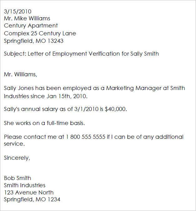 employment verification letter for sally smith