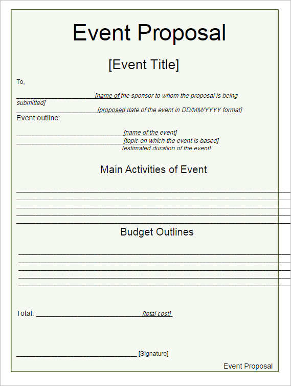 Event Proposal Template Event Management Services Request For