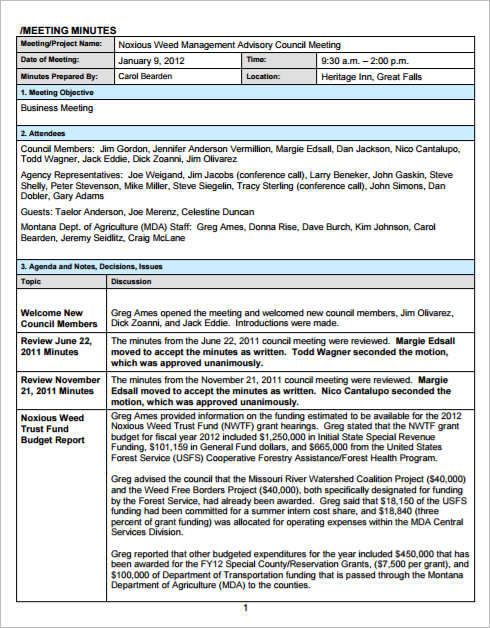 Meeting Minutes Template Free Word Form Excel PDF Documents