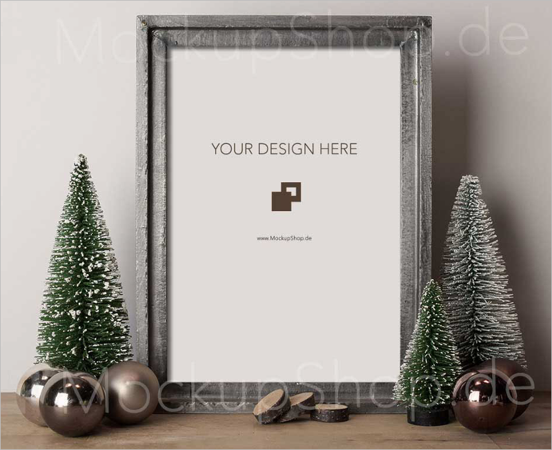 Free Christmas Tree Mockup PSD Design