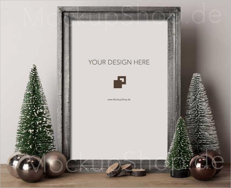 Free Christmas Tree Mockup PSD Design