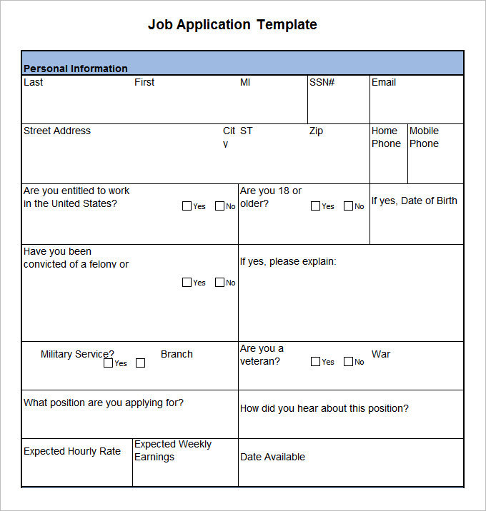 free employment application template word - 18 job application form template free word pdf excel