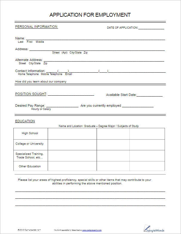 Job Application Template. Free Standard Employment Application Form ...