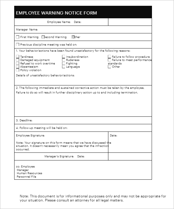 ... Free Employee Write Up Form Template