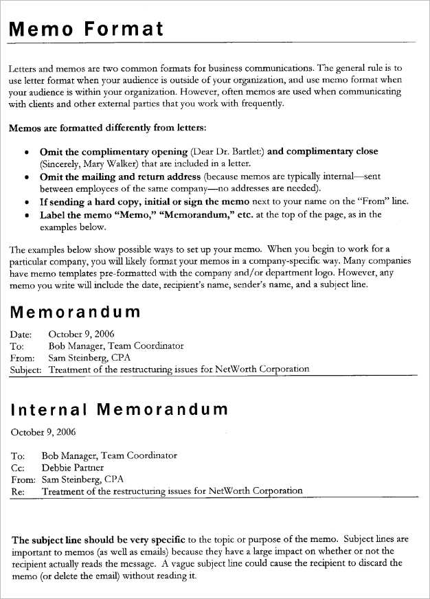 memorandum sample letter
