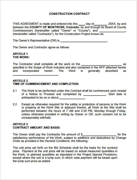 28 construction contract form templates free pdf doc word samples