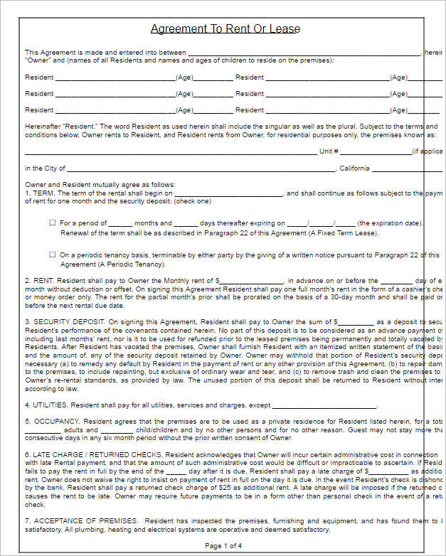 Rental Lease Agreement 282 Free Word PDF Excel Format – Free Residential Lease
