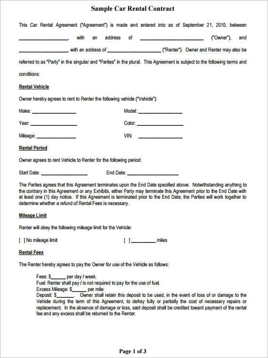 free-sample-car-rental-contract-template