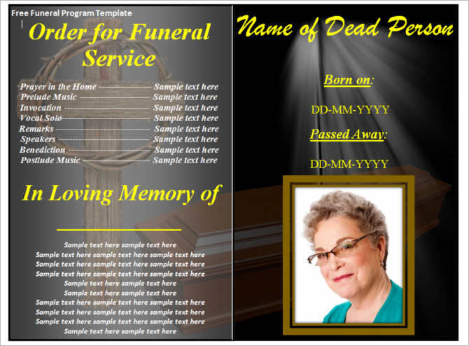 Funeral Program Template - Word, Form, Pdf, Excel Documents