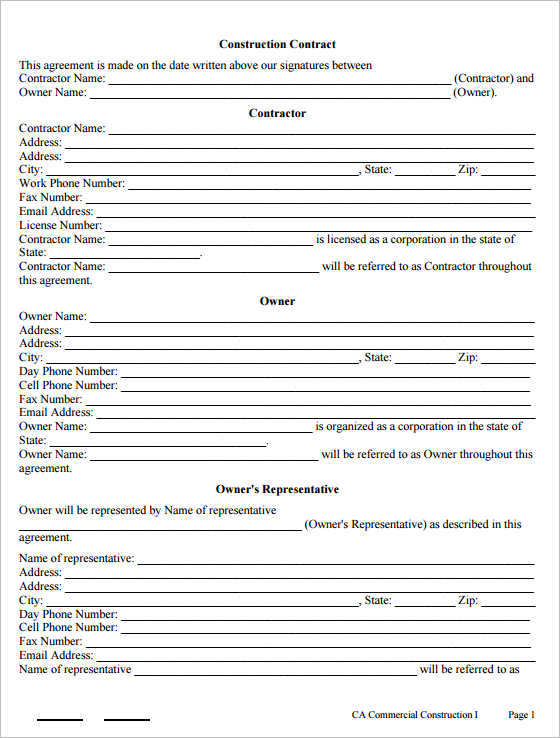 Construction Contract Form Templates Free Pdf Doc Word Samples