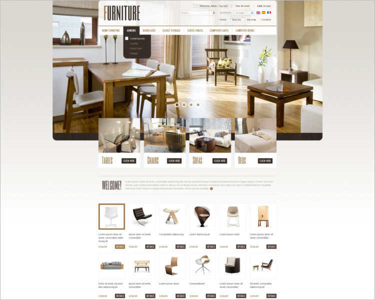 Furniture prestashop themes free premium templates creative template Home furniture quotation template
