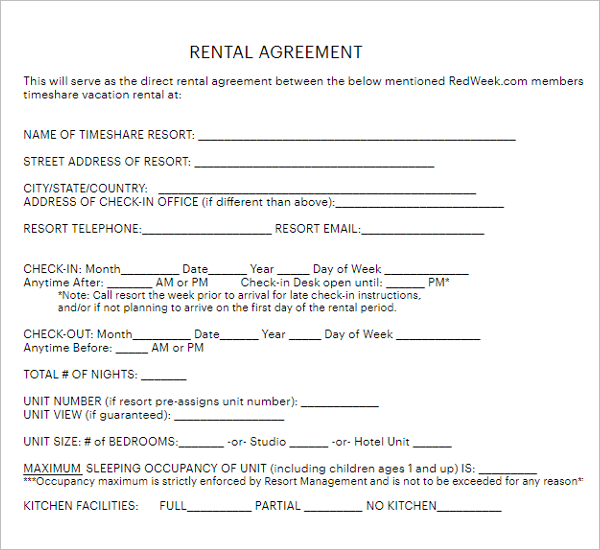 29 Rental Agreement Form Free Word Pdf Templates