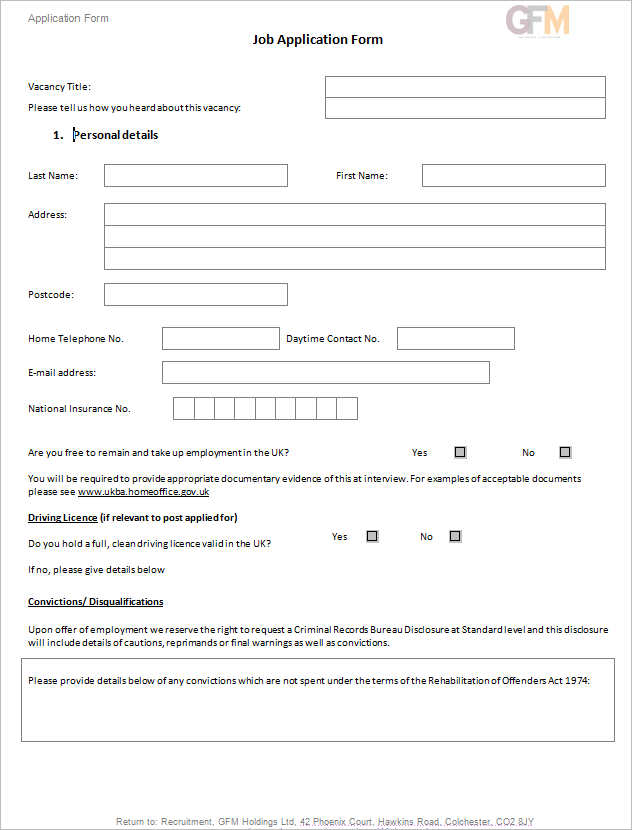 job-application-document-template