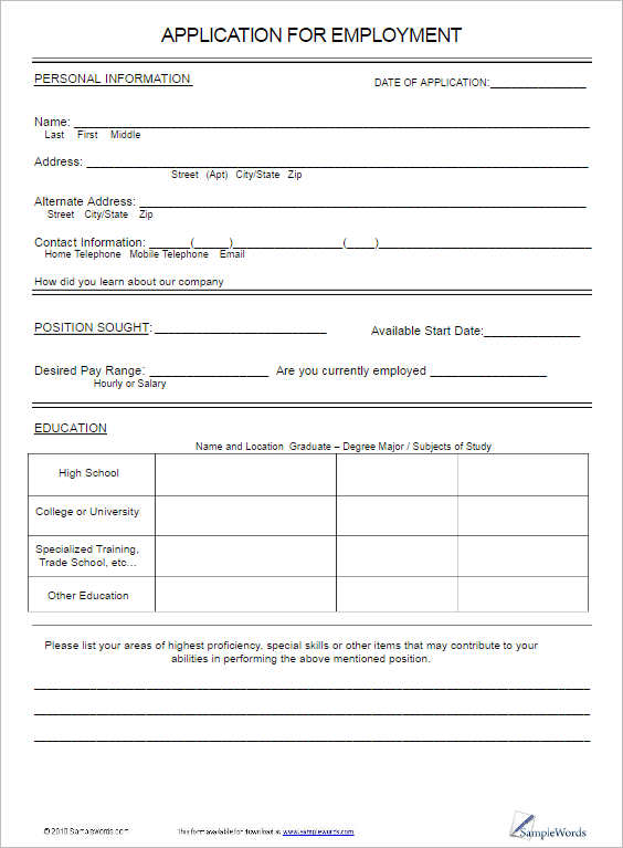 Job Application Form Template Free Word Pdf Excel Formats