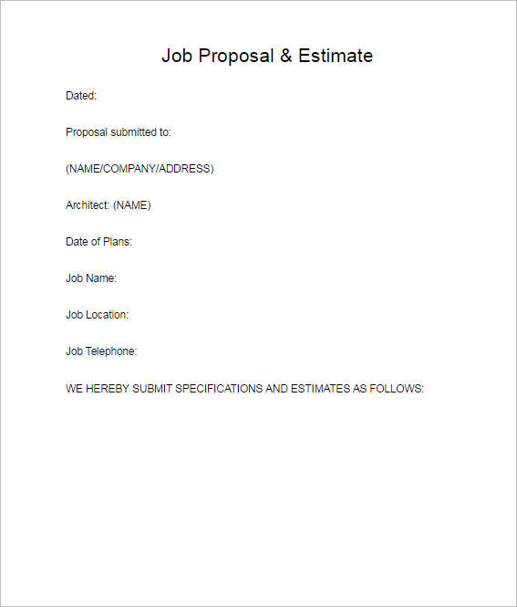 128 Business Proposal Template Word Sample PDF Format – Job Proposal Template