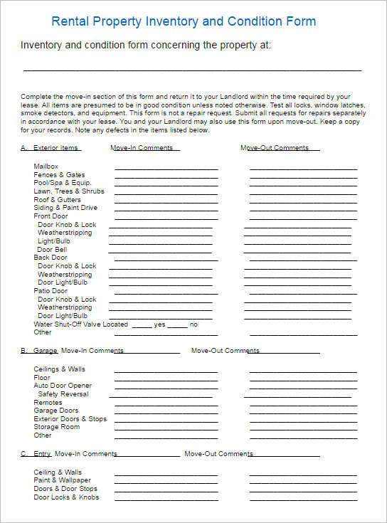 6 General Blank Lease Agreement Landlord Inventory Template Forms ...  Inventory List For Landlords