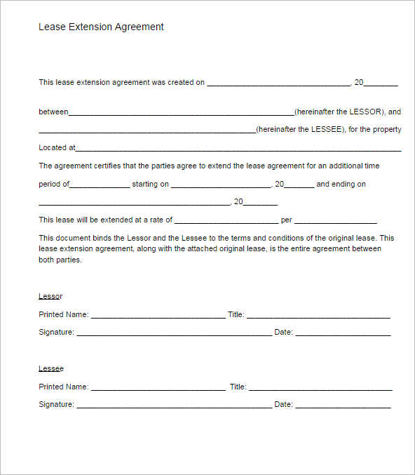 Lease Extension Agreement Form Template