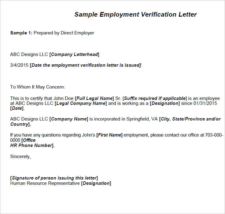 Employment Verification Letter Templates Free Premium – Example Employment Verification Letter