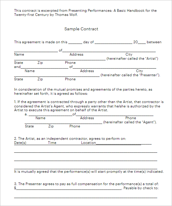 MS Word Construction Contract Form Template