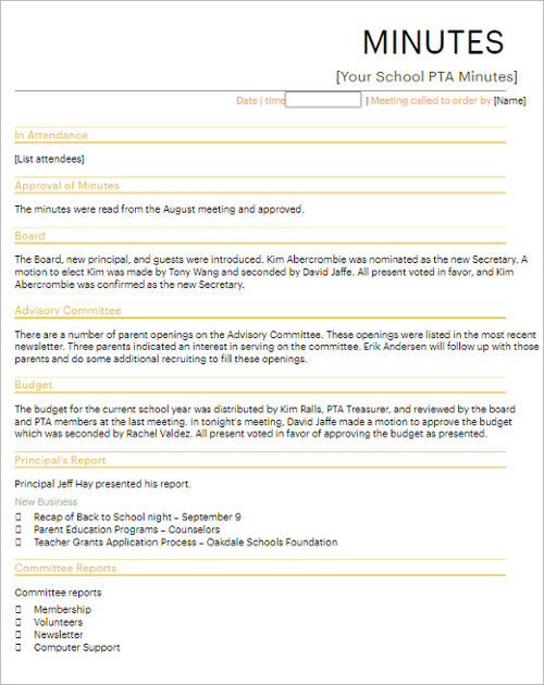 Meeting Minutes Template Google Docs